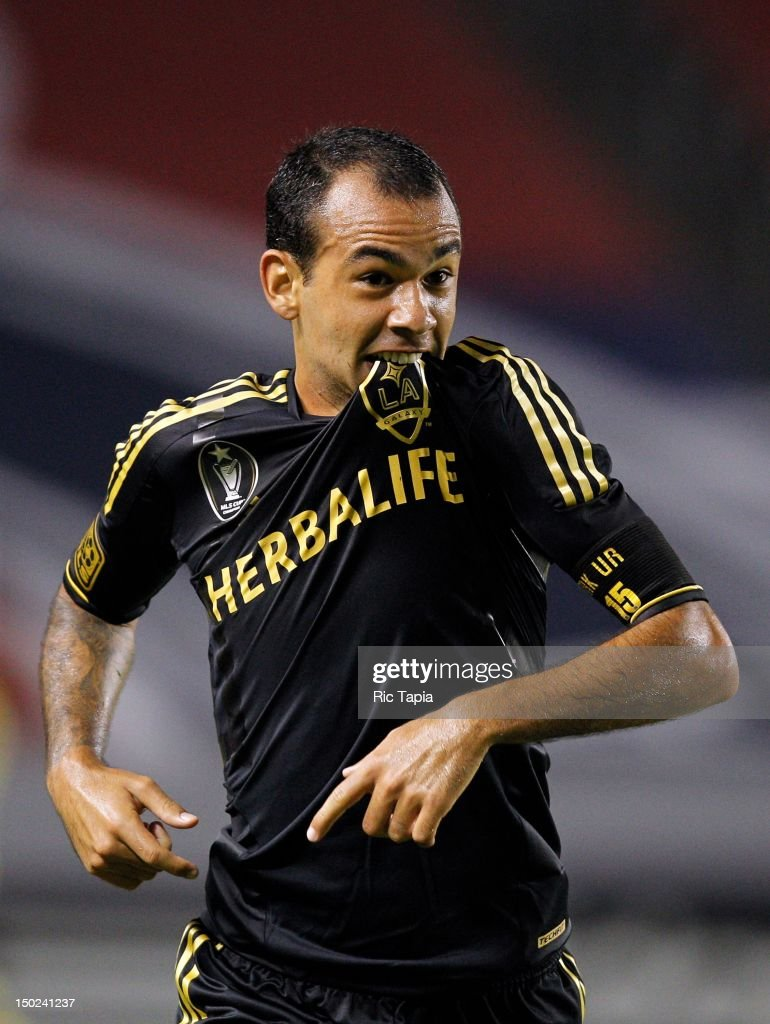 Juninho of Los Angeles Galaxy celebrates his second half goal during the MLS match against Chivas USA at The Home Depot Center on August 12 2012 in...