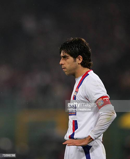 Juninho of Lyon in action during the UEFA Champions League round of 16 first leg match between AS Roma and Olympique Lyonnais at the Stadio Olimpico...