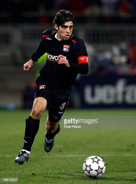Juninho of Lyon in action during the UEFA Champions League Round of 16 second leg match between Lyon and Roma at Gerland Stadium on March 6 2007 in...