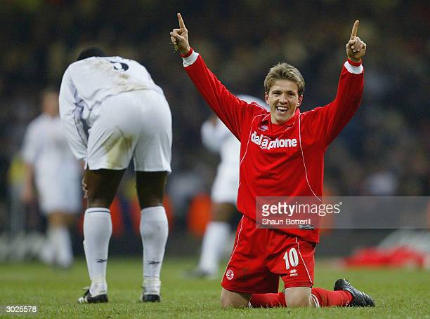 Juninho of Middlesbrough celebrates Middlesbrough's victory over Bolton Wanderers during the Carling Cup Final match between Bolton Wanderers and...