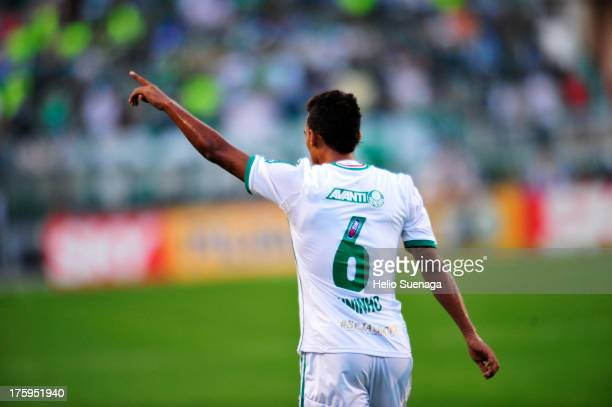 Juninho of Palmeiras celebrates a goal during a match between Palmeiras and Parana as part of the Brazilian Championship Serie B 2013 at Pacaembu...