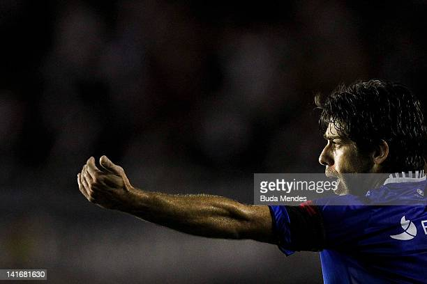 Juninho Pernanbucano of Vasco da Gama celebrates a scored goal againist Libertad during a match between Vasco da Gama and Libertad as part of...