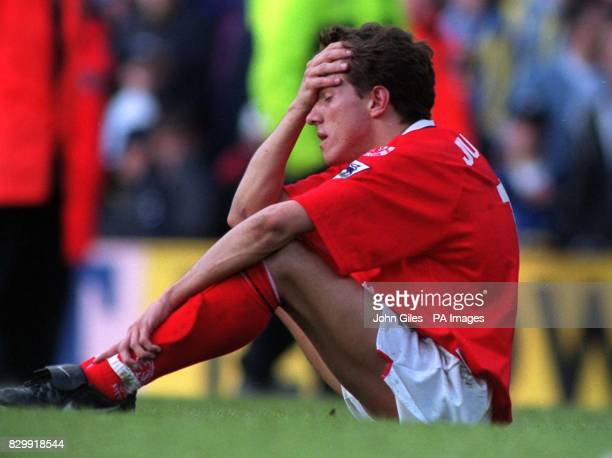 Juninho shows his despair after his side Middlesbrough were relegated from the Premiership after drawing at Leeds today Photo JOHN GILESPA