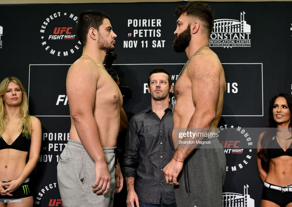 Junior Albini of Brazil and Andrei Arlovski of Belarus face off during the UFC Fight Night Weigh-in on November 10, 2017 in Norfolk, Virginia.