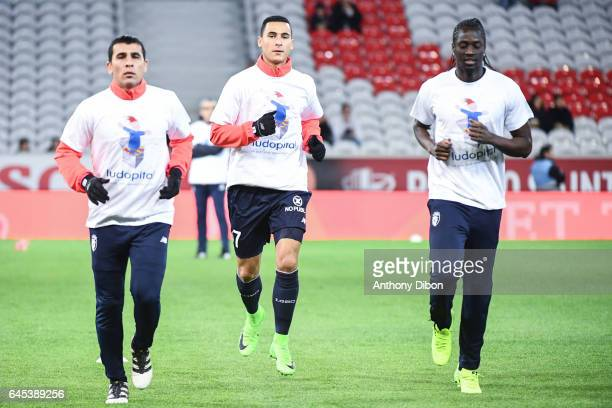 Junior Alonso Anwar El Ghazi and Eder of Lille during the French Ligue 1 match between Lille and Bordeaux at Stade PierreMauroy on February 25 2017...
