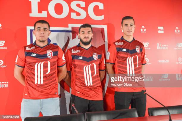 Junior Alonso Fares Bahlouli and Anwar El Ghazi new signing players of Lille during press conference of Lille OSC at Domaine of Luchin on February 1...