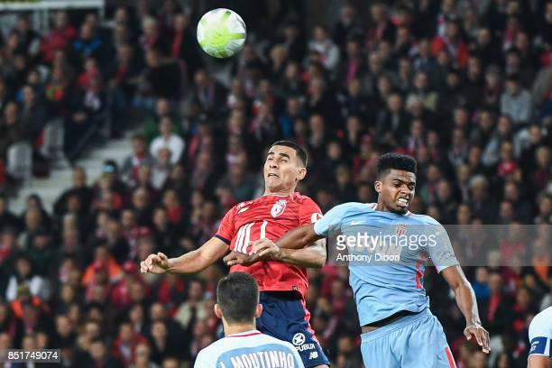 Junior Alonso of Lille and Jemerson of Monaco during the Ligue 1 match between Lille OSC and AS Monaco at Stade Pierre Mauroy on September 22 2017 in...