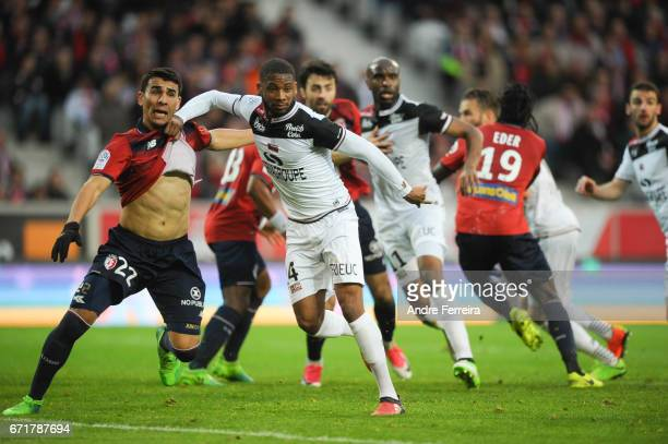 Junior Alonso of Lille and Marcus Coco of Guingamp during the Ligue 1 match between Lille OSC and EA Guingamp at Stade PierreMauroy on April 22 2017...