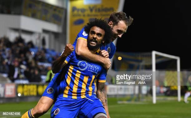 Junior Brown of Shrewsbury Town celebrates after scoring a goal to make it 40 during the Sky Bet League One match between Shrewsbury Town and Bristol...