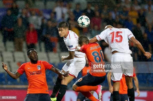 Junior Caiçara of Medipol Basaksehir in action against Steven NZonzi of Sevilla FC during the UEFA Champions League playoff match between Medipol...
