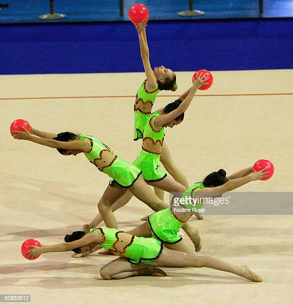 Junior Class Team ATSV Bremen 1860 perform during the International German Gymnastics Festival on May 16 2005 in Berlin Germany