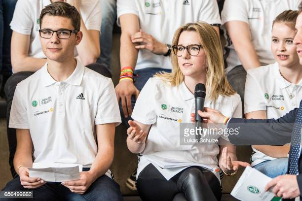 Junior Coaches ask their questions during the tribute to the DFB Junior Coaches in the Deutsches Fussballmuseum on March 22 2017 in Dortmund Germany