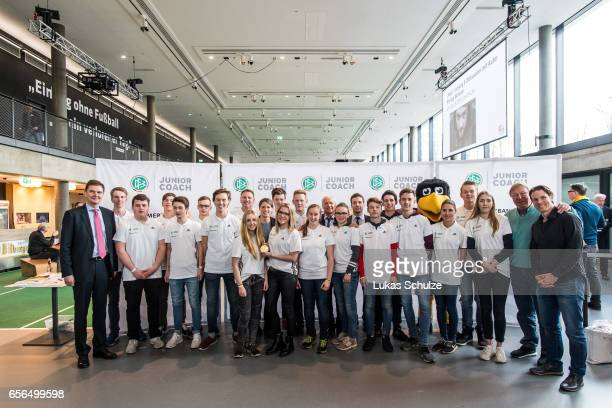 Junior Coaches pose during the tribute to the DFB Junior Coaches in the Deutsches Fussballmuseum on March 22 2017 in Dortmund Germany