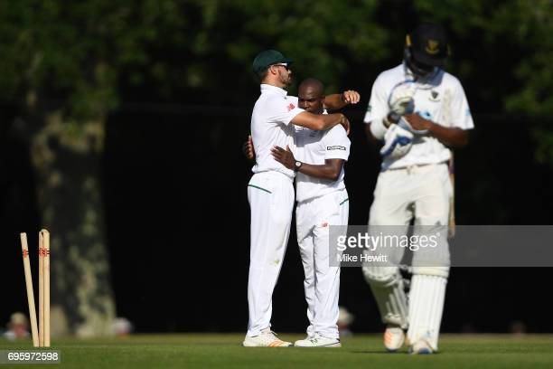 Junior Dala of South Africa A is congratulated after bowling Delray Rawlins of Sussex for 96 during a Tour Match between Sussex and South Africa A at...