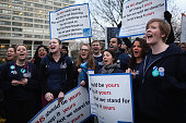 Junior Doctors NHS choir sing and protest outside St Thomas's Hospital on February 10 in London England Junior Doctors across the United Kingdom...