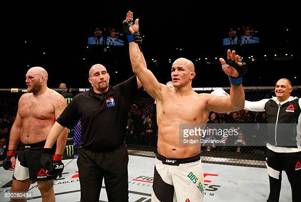 Junior Dos Santos celebrates his victory over Ben Rothwell in their heavyweight bout during the UFC Fight Night event at the Arena Zagreb on April 10...
