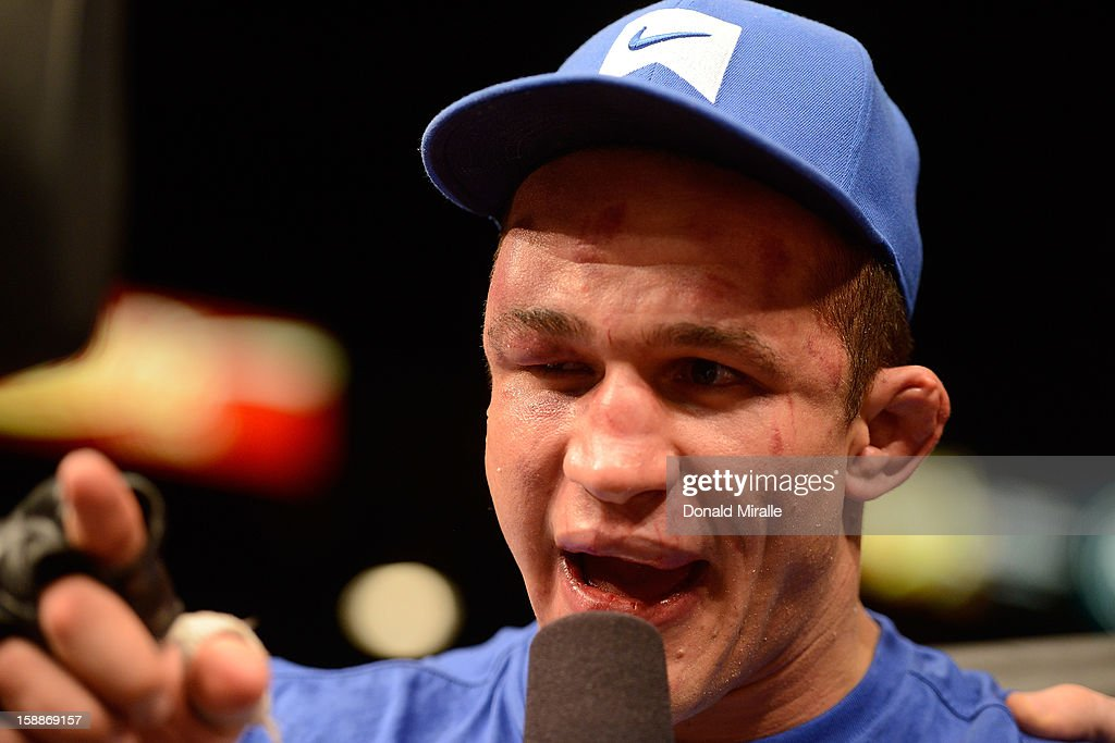 Junior dos Santos is interviewed after losing his UFC heavyweight title to Cain Velasquez at UFC 155 on December 29, 2012 at MGM Grand Garden Arena in Las Vegas, Nevada.