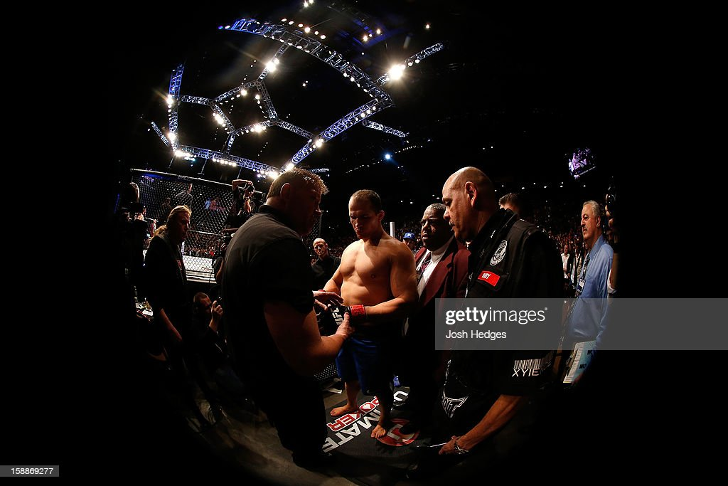 Junior dos Santos prepares to enter the Octagon before his heavyweight championship fight against Cain Velasquez at UFC 155 on December 29, 2012 at MGM Grand Garden Arena in Las Vegas, Nevada.