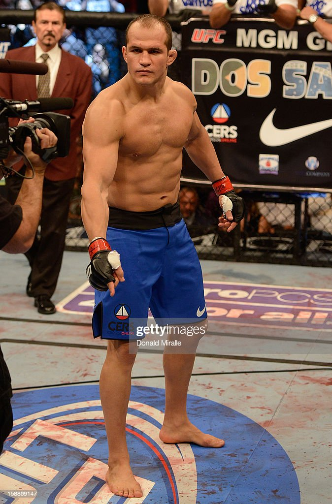 Junior dos Santos stands in the Octagon before his heavyweight championship fight against Cain Velasquez at UFC 155 on December 29, 2012 at MGM Grand Garden Arena in Las Vegas, Nevada.