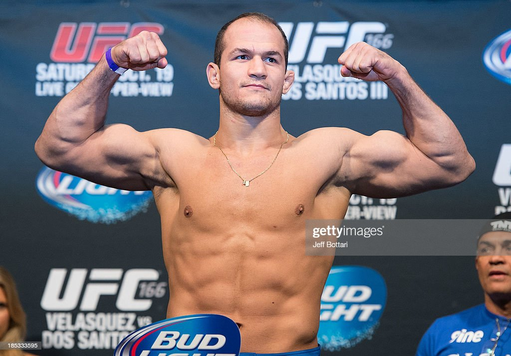 Junior Dos Santos weighs in during the UFC 166 weigh-in at the Toyota Center on October 18, 2013 in Houston, Texas.