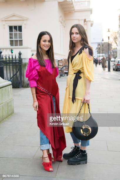 Junior fashion editor at Harpers Bazaar UK Anna Vitiello wears a Rejina Pyo top DKNY dress vintage jeans and Malone Souliers shoes with Junior...