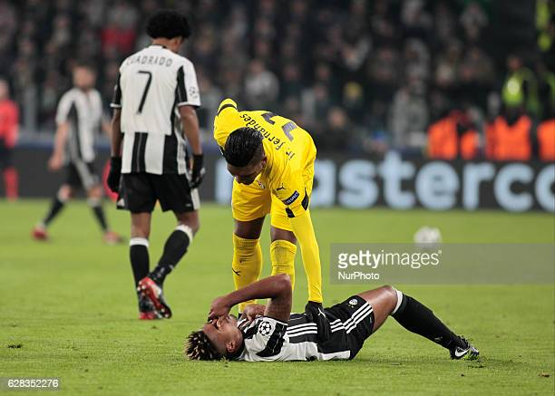 Junior Fernandes and Mario Lemina during Champions League match between Juventus v Dinamo Zagreb in Turin on December 7 2016