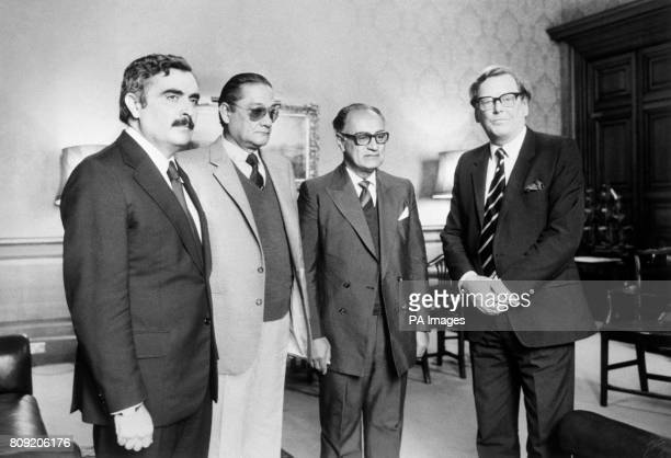 Junior Foreign Office Minister Mr Cranley Onslow receiving three Argentinians representing families of servicemen missing since the Falklands...