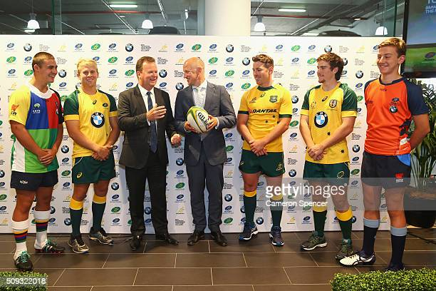 Junior Gold Cup U17 player Rory Lynch Australian U20's player Andrew Deegan Australian Rugby CEO Bill Pulver BMW General Manager of Marketing Stuart...