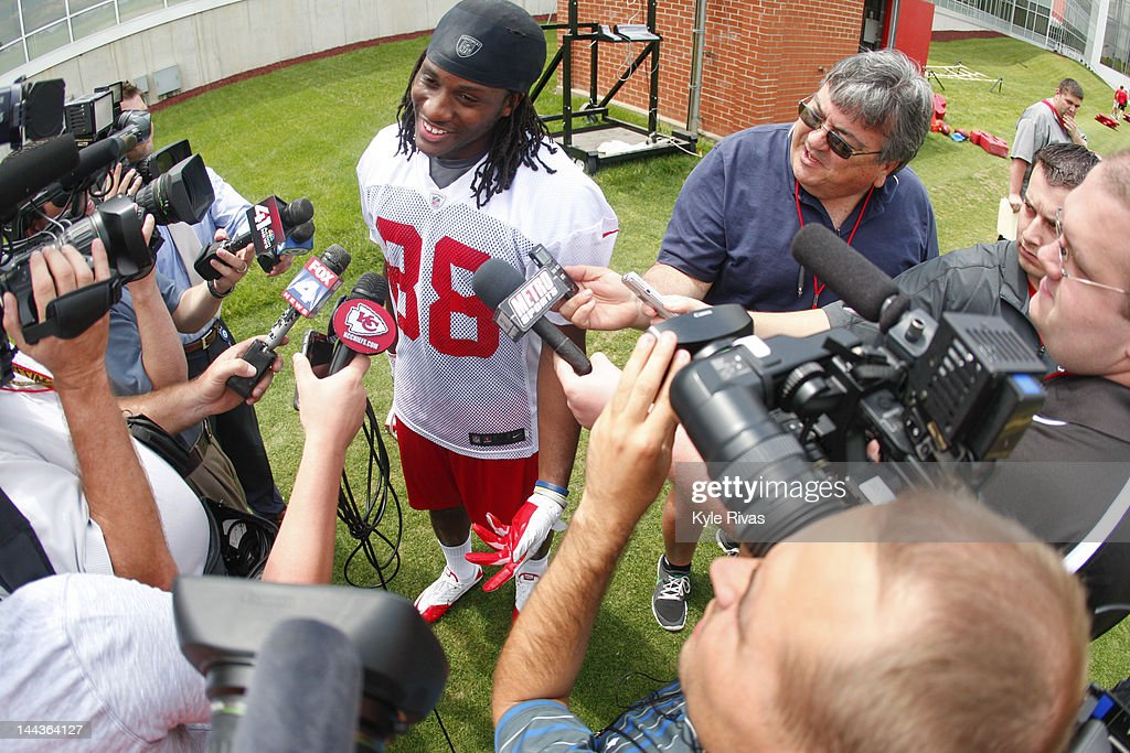 Junior Hemingway #88 of the Kansas City Chiefs speaks to members of the media during the Kansas City Chiefs Minicamp on May 13, 2012 at the Chiefs Training Facility in Kansas City, Missouri.