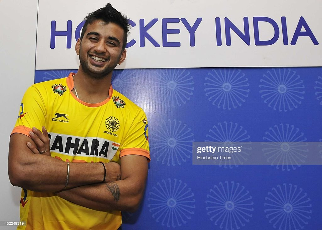 Junior Hockey Team Men Captain <a gi-track='captionPersonalityLinkClicked' href=/galleries/search?phrase=Manpreet+Singh+-+Field+Hockey+Player&family=editorial&specificpeople=16029378 ng-click='$event.stopPropagation()'>Manpreet Singh</a> after the team announcement for the upcoming Junior Men Hockey World Cup 2013 on November 27, 2013 in New Delhi, India. Hockey India announced a strong 18-Members of Junior men's squad, led by midfielder <a gi-track='captionPersonalityLinkClicked' href=/galleries/search?phrase=Manpreet+Singh+-+Field+Hockey+Player&family=editorial&specificpeople=16029378 ng-click='$event.stopPropagation()'>Manpreet Singh</a> that will present India's challenge at the upcoming FIH Junior Men's World Cup to be held at Delhi from December 5 to 15.