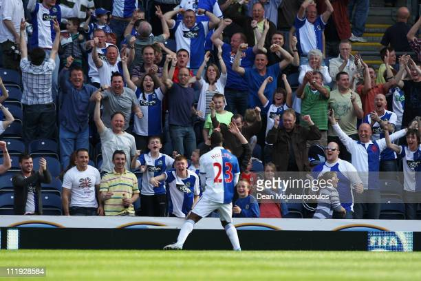 Junior Hoilett of Blackburn celebrates with the fans after he scores his teams first goal of the game during the Barclays Premier League match...