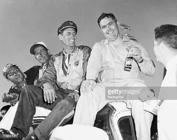 Junior Johnson and car owner Ray Fox celebrate winning the 1960 Daytona 500 Johnson won many times in NASCAR competition as a driver and later as a...