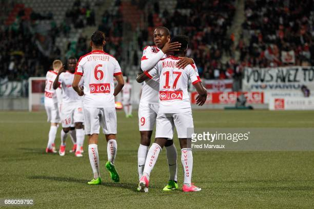Junior Maurice Dale of Nancy and Faitout Maouassa of Nancy celebrates scoring his goal during the Ligue 1 match between AS NancyLorraine and AS...