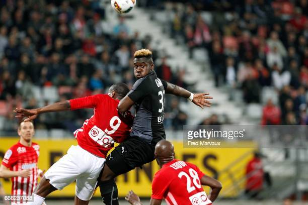 Junior Maurice Dale of Nancy and Joris Gnagnon of Rennes during the Ligue 1 match between As Nancy Lorraine and Stade Rennais at Stade Marcel Picot...