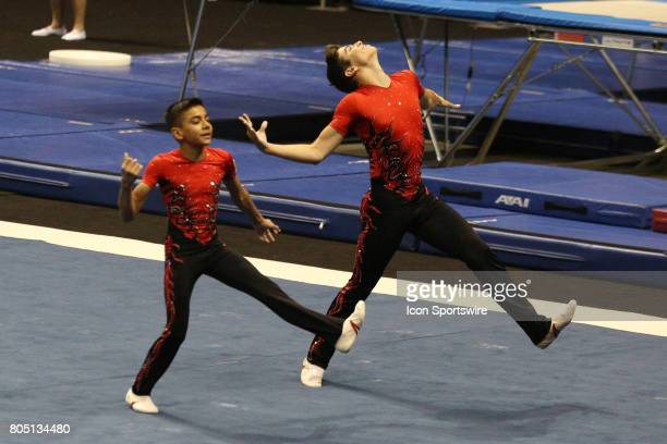 Junior Men's Pairs Angel Felix and Braiden McDougall perform their Acrobatic Balance routine during the USA Gymnastic Championships at the BMO Harris...