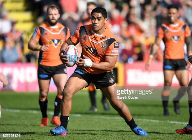 Junior Moors of Castleford during the Betfred Super League match between Castleford Tigers and Catalans Dragons at Wheldon Road on March 26 2017 in...