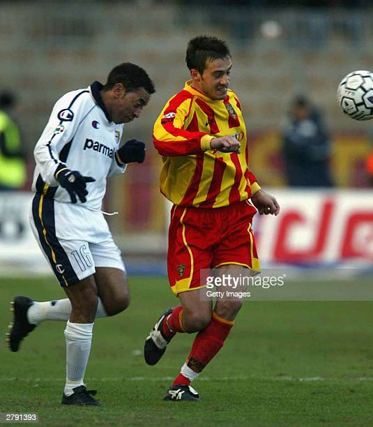 Junior of Parma and Cassetti of Lecce during the Serie A 12th round match between Lecce and Parma held at Via del Mare stadium on December 7 2003 in...