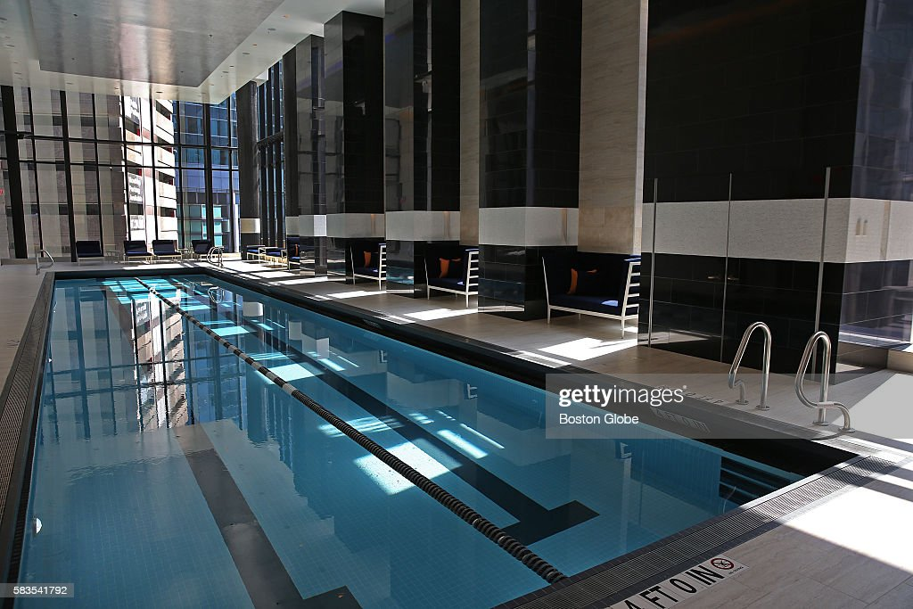 junior olympic sized swimming pool at the new millennium tower at downtown crossing in boston