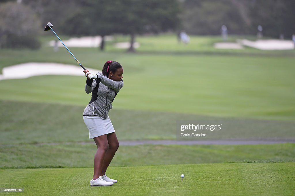 Junior participant Micca' Thomas plays from the second tee during the final round of the Champions Tour Nature Valley First Tee Open at Pebble Beach...
