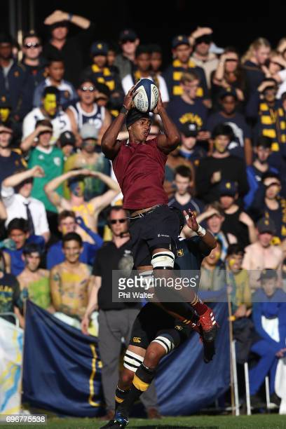 Junior Ratuva of Kings takes the high ball during the Schoolboy XV match between Auckland Grammar and Kings College on June 17 2017 in Auckland New...