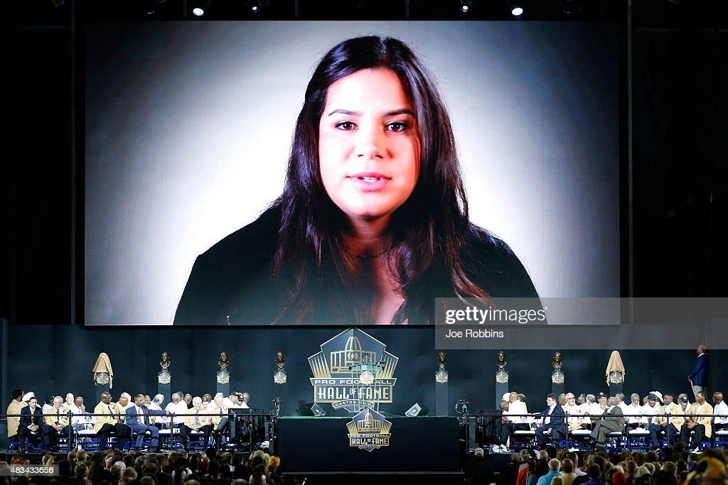Junior Seau's daughter Sydney Seau is seen on a recorded acceptance speech during the NFL Hall of Fame induction ceremony at Tom Benson Hall of Fame...