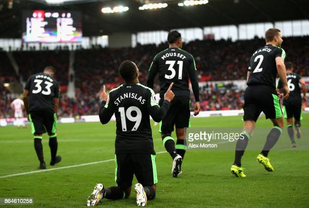 Junior Stanislas of AFC Bournemouth celebrates scoring the 2nd Bournemouth goal during the Premier League match between Stoke City and AFC...