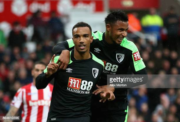 Junior Stanislas of AFC Bournemouth celebrates scoring the 2nd Bournemouth goal with Lys Mousset of AFC Bournemouth during the Premier League match...