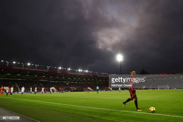 Junior Stanislas of AFC Bournemouth prepares to take a corner kick during the Premier League match between AFC Bournemouth and Chelsea at Vitality...