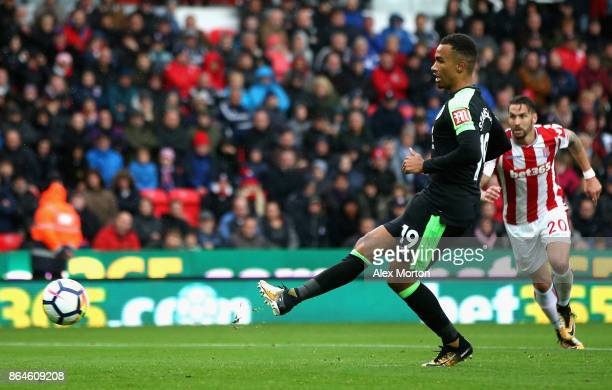 Junior Stanislas of AFC Bournemouth scores the 2nd Bournemouth goal during the Premier League match between Stoke City and AFC Bournemouth at Bet365...