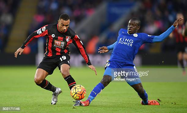 Junior Stanislas of Bournemouth and Ngolo Kante of Leicester City compete for the bacompete for the ballduring the Barclays Premier League match...