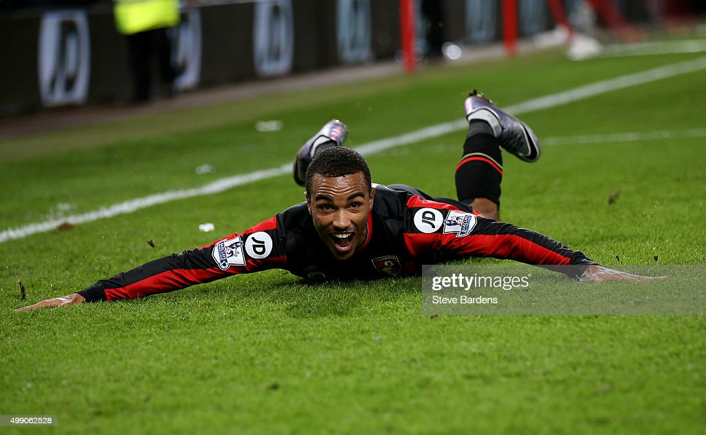 Junior Stanislas of Bournemouth celebrates scoring his team's second goal during the Barclays Premier League match between A.F.C. Bournemouth and Everton at Vitality Stadium on November 28, 2015 in Bournemouth, England.