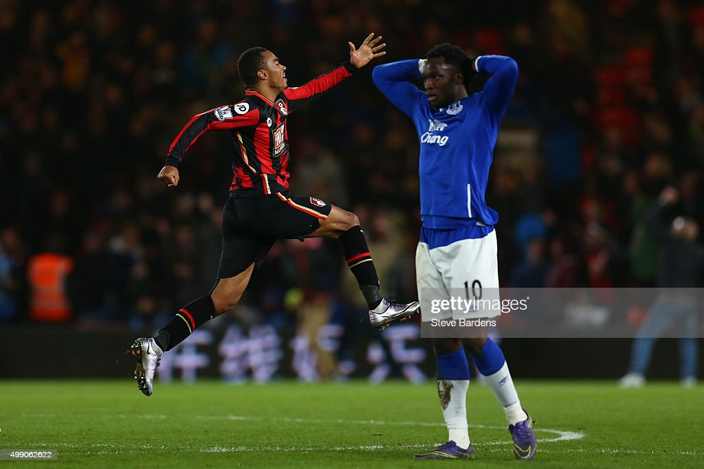 Junior Stanislas (1st R) of Bournemouth celebrates scoring his team's third goal with his team mates during the Barclays Premier League match between A.F.C. Bournemouth and Everton at Vitality Stadium on November 28, 2015 in Bournemouth, England.