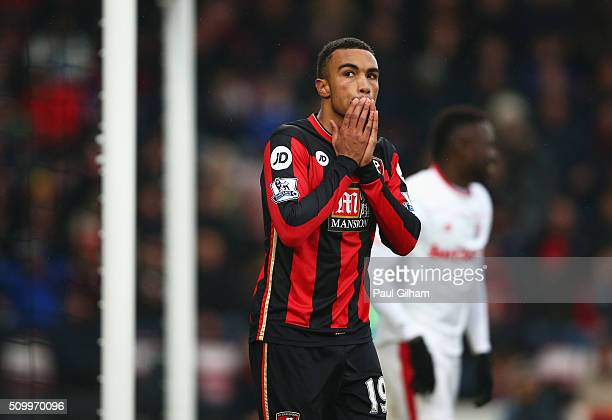 Junior Stanislas of Bournemouth reacts after missing a chance during the Barclays Premier League match between AFC Bournemouth and Stoke City at...