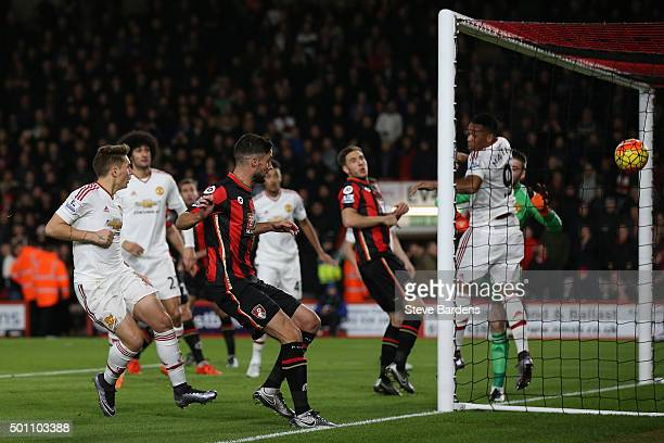 Junior Stanislas of Bournemouth scores his team's first goal during the Barclays Premier League match between AFC Bournemouth and Manchester United...